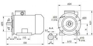 Габаритные размеры электродвигателей АИР132S4