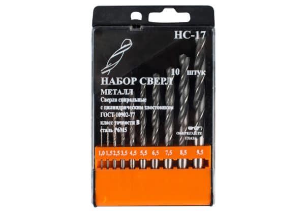Набор сверл по металлу JSD Tools 100602-НС17 от 1 до 9,5 шаг 0,5-1 мм